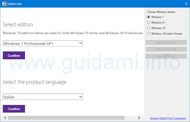 Windows ISO Downloader indicare versione, edizione, lingua