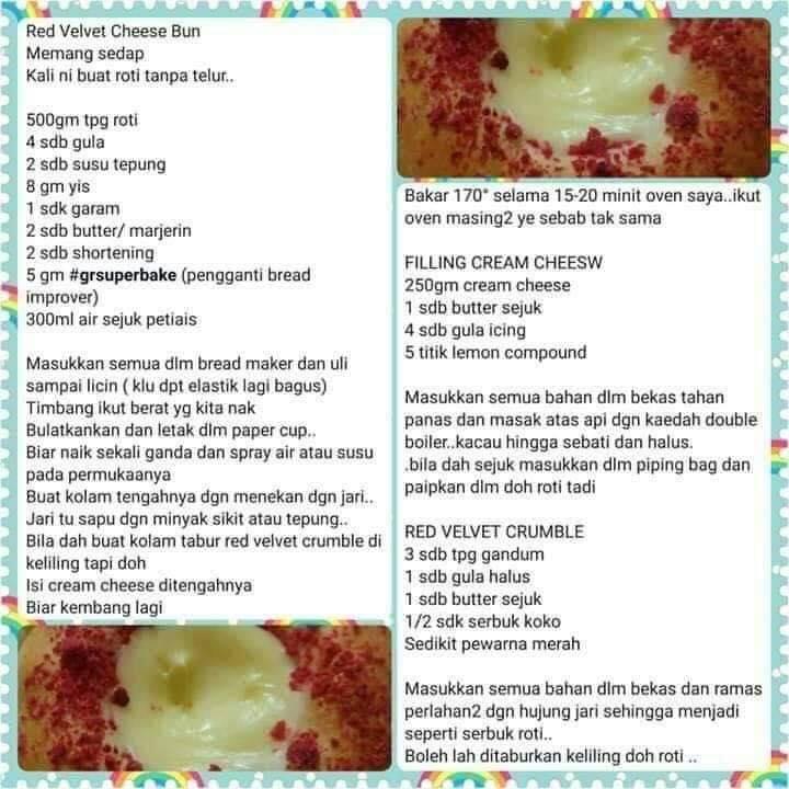 resepi roti red velvet cheese bun