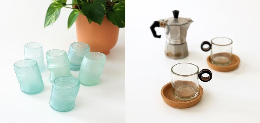 juegos de vasos y tazas de cafe hechas reutilizando botellas de vidrio
