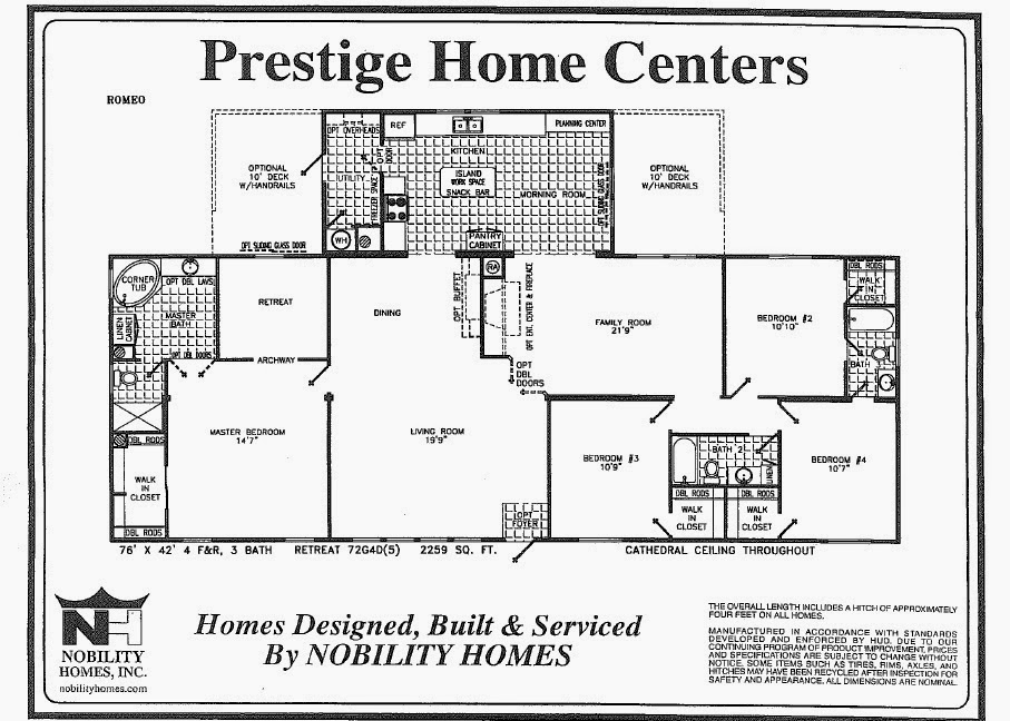 Romeo 4 bedrooms with den and parents retreat triplewide for 4 bedroom mobile home floor plans