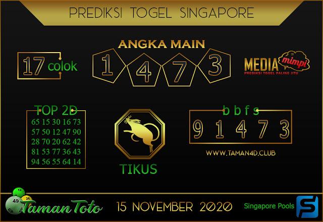 Prediksi Togel SINGAPORE TAMAN TOTO 15 NOVEMBER 2020
