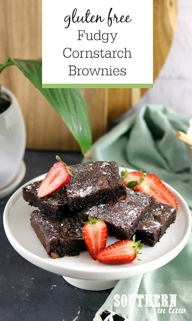 Flourless Fudgy Cornstarch Brownies Recipe - gluten free, easy, chewy, dessert