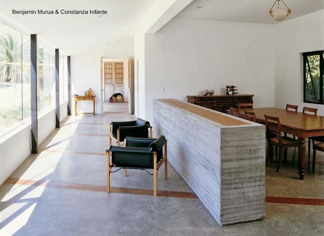Sala y comedor de casa de campo en Chile