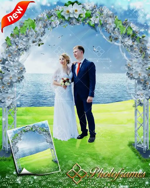 Plantilla con Arco para bodas a la orilla del lago para fotos de bodas