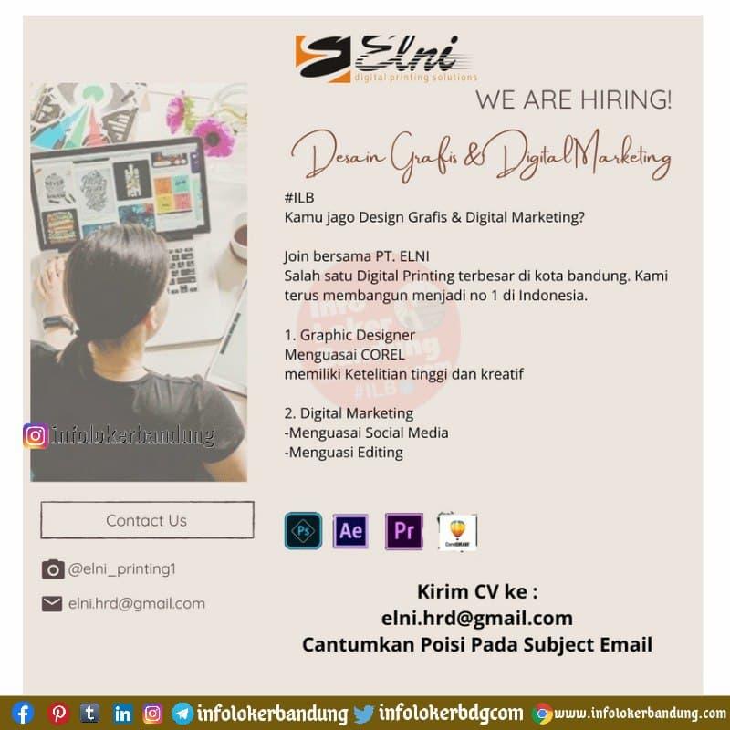 Lowongan Kerja Desain Grafis & Digital Marketing PT. ELNI Bandung Februari 2021