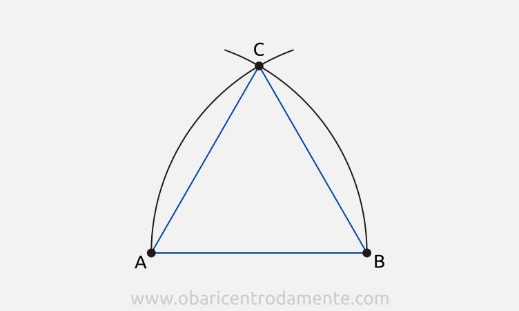 Construção de triângulos equiláteros com régua e compasso a partir do lado