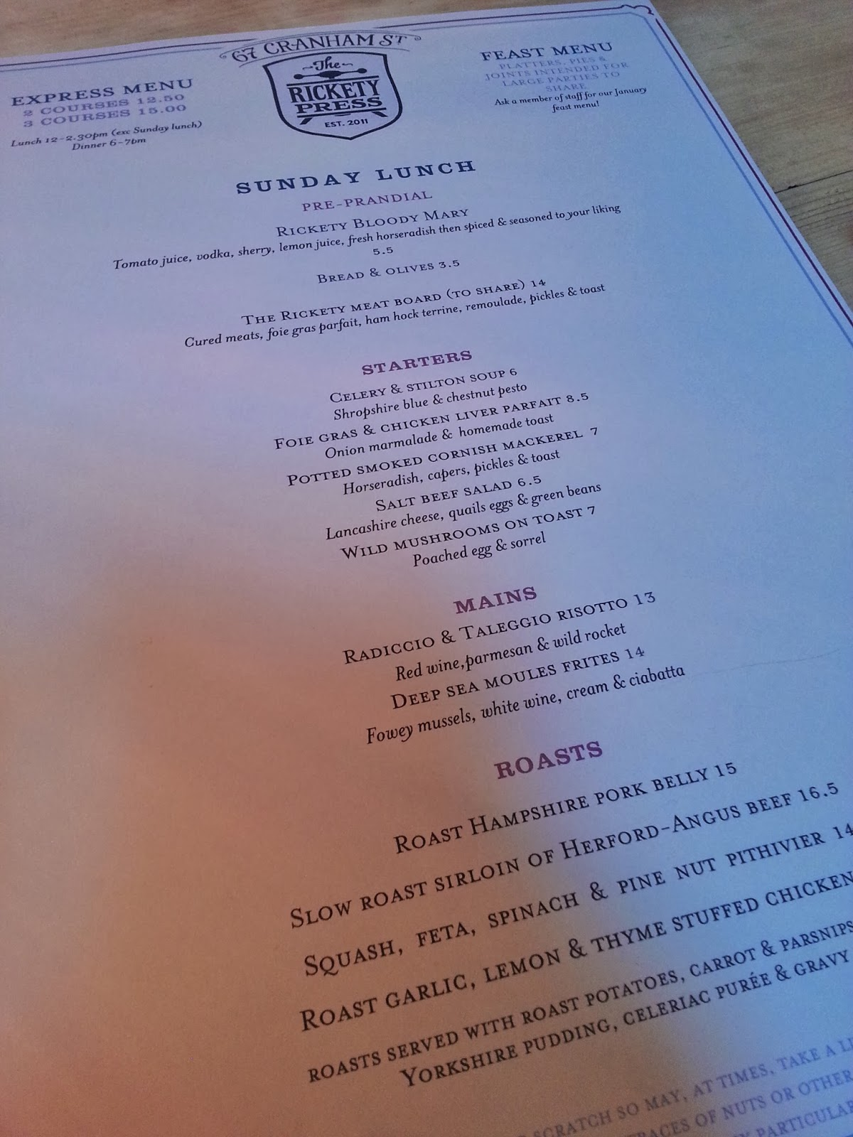 Rickety Press Sunday Lunch Menu