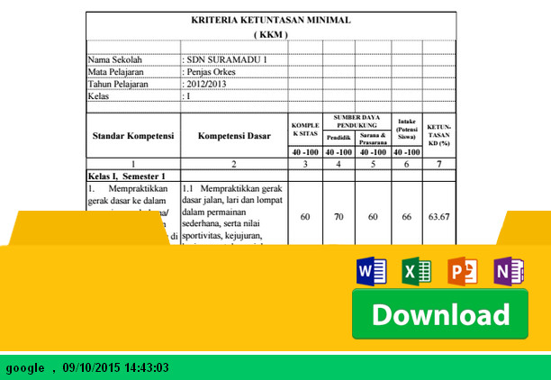 Aplikasi KKM PJOK Kelas 1 sampai dengan 6 SD dengan Microsoft Excel - Download