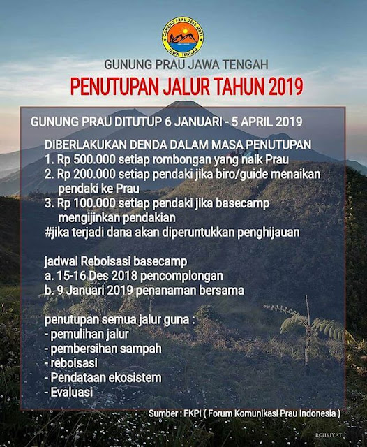 gunung prau ditutup 2019