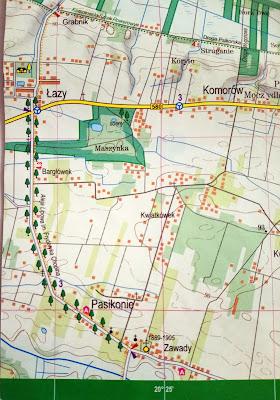 Aleja lipowa na mapie Puszcza Kampinoska wydawnictwa Express map