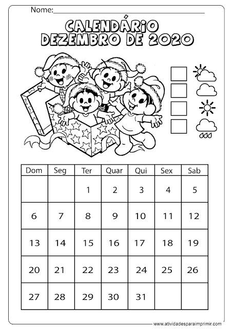 Calendário dezembro 2020