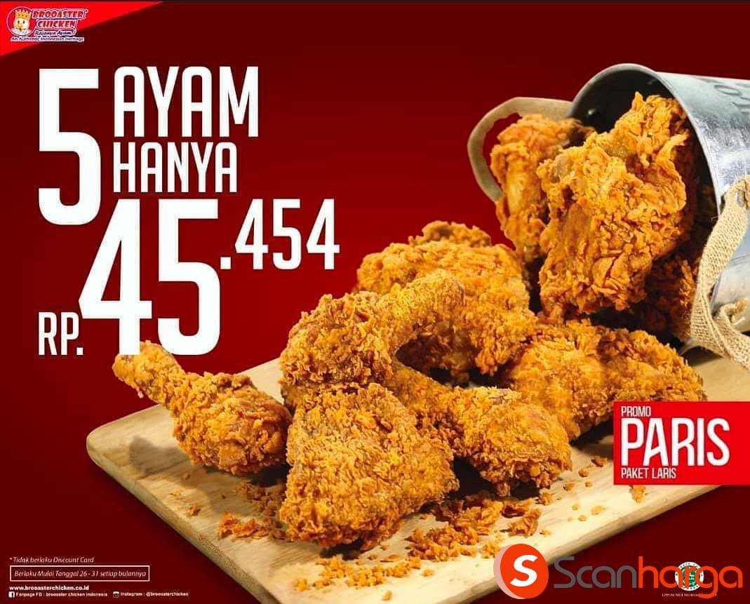 Brooaster Chicken Promo PAKET LARIS! Beli 5 Potong Ayam harga hanya Rp 45.454