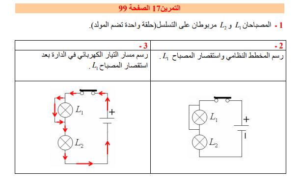 حل تمرين 17 صفحة 99 فيزياء للسنة الأولى متوسط الجيل الثاني