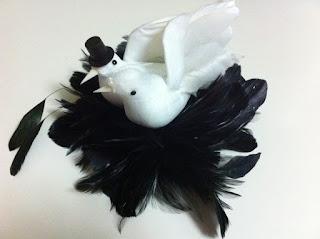 siyah beyaz güvercin nikah şapkası vualet