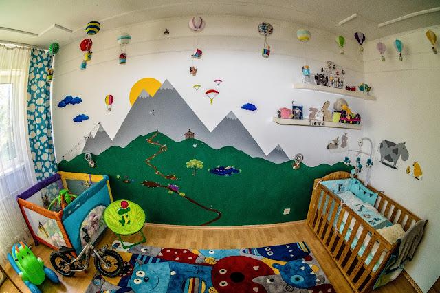 babyzimmer einrichtung sehr süß junge berge action mountainbike ski