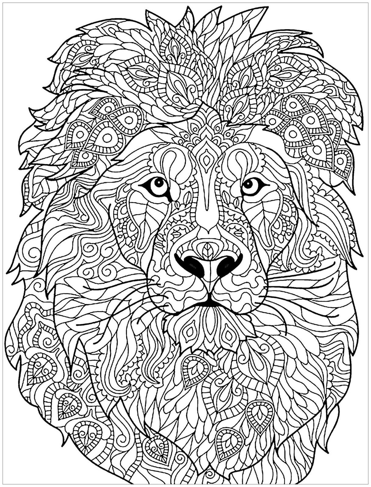 Tranh tô màu con sư tử vẽ cách điệu