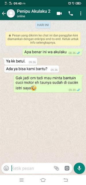 chat dengan penipu di whatsapp