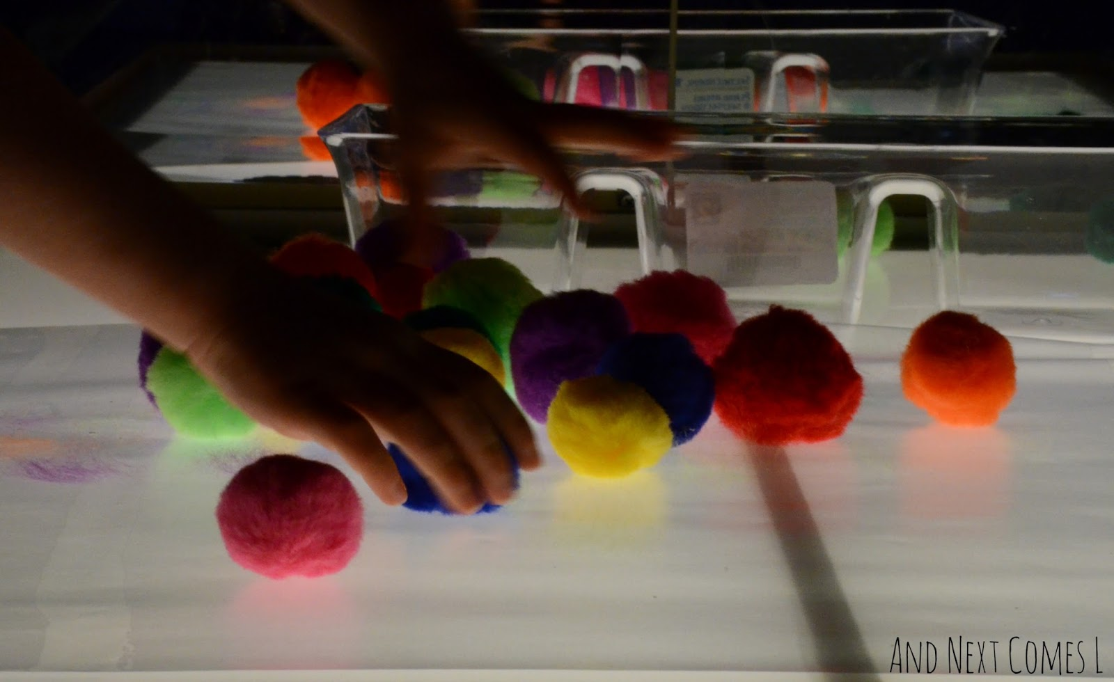 Creating art on the light table with pom poms from And Next Comes L
