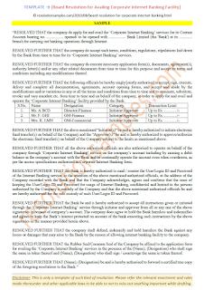 specimen of board resolution for corporate internet banking