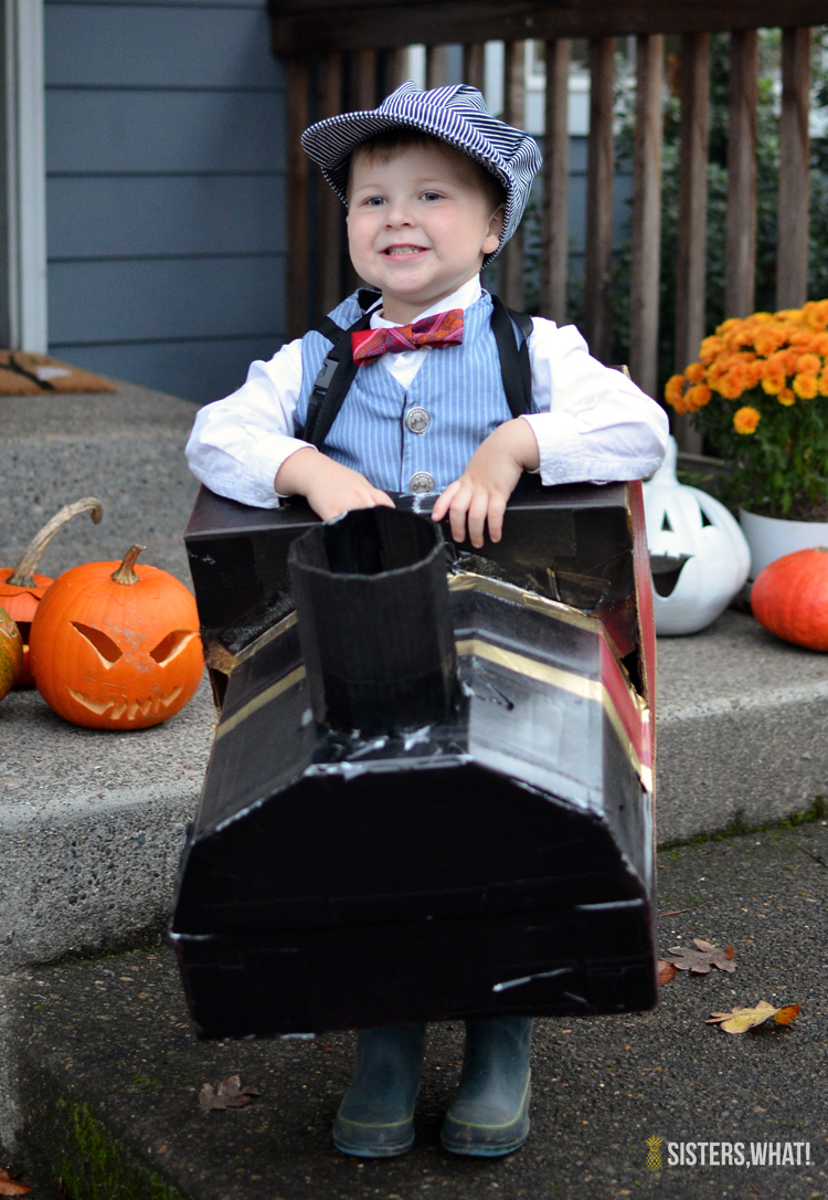 cardboard box toy train halloween little boys costume