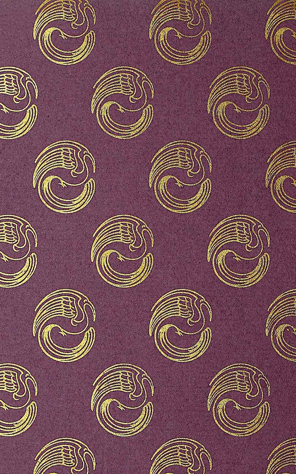 the end pages of a book 1900, a pattern of gold birds on a purple field