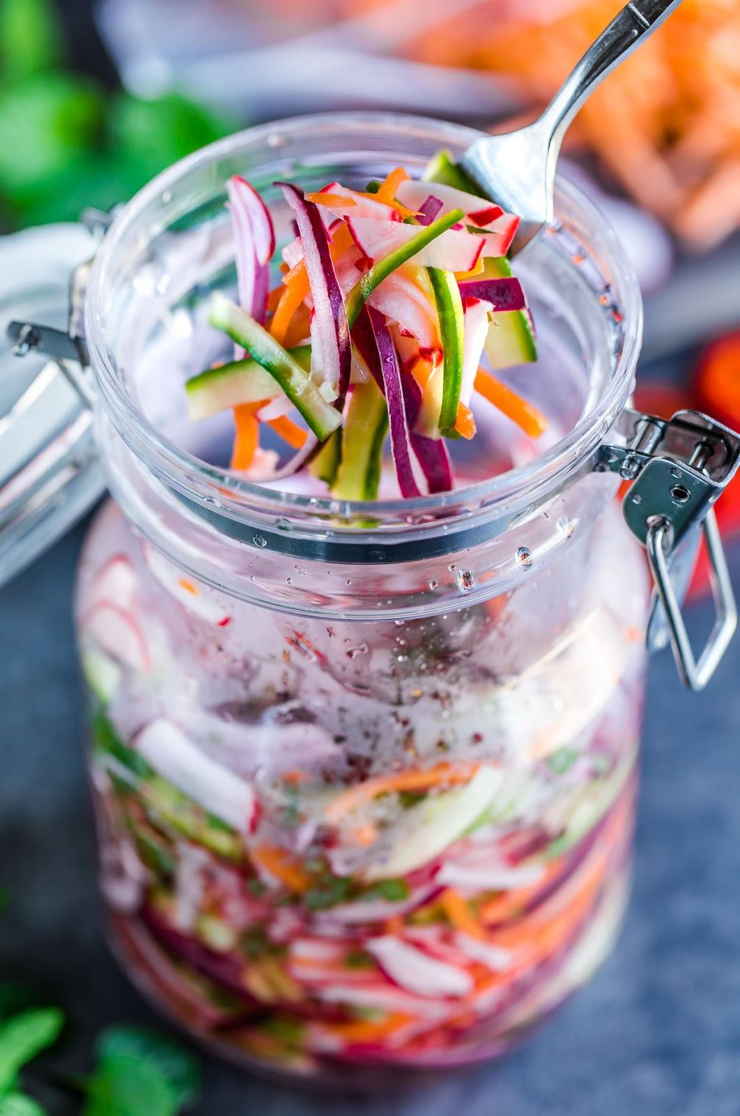 QUICK FRIDGE PICKLED VEGETABLES #vegetables #vegan #quick #easy #dinner