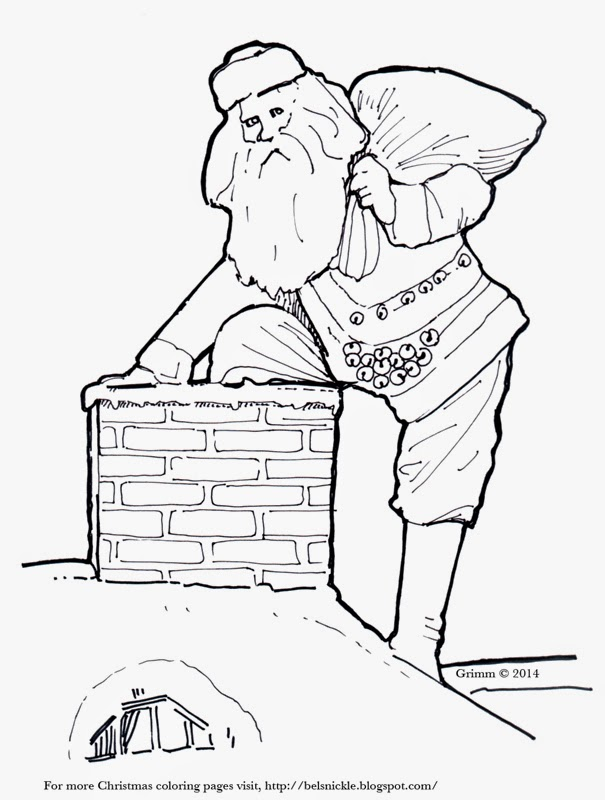 description of coloring page chimney snow rooftop bricks bag of toys santa st nick attic window bells