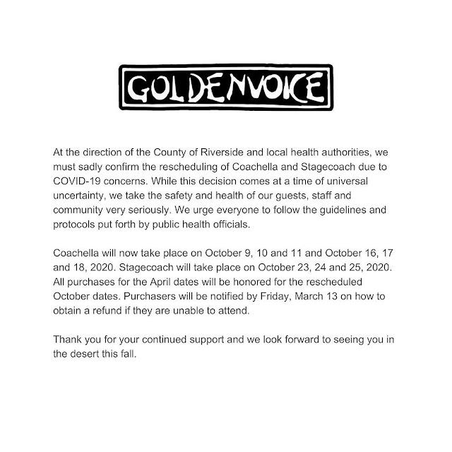 Coronavirus: For Safety Reasons, Coachella has been Rescheduled