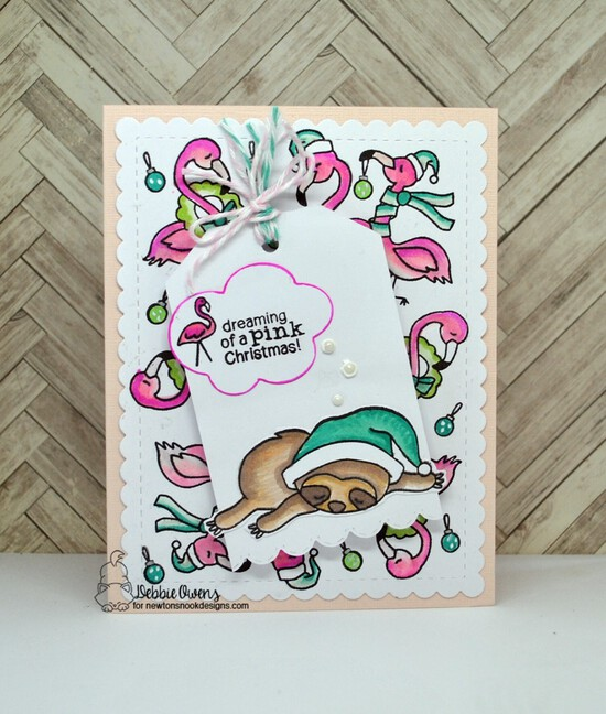 Dreaming of a pink Christmas by Debbie features Festive Flamingoes, Frames & Flags, and Fancy Edges Tag by Newton's Nook Designs; #newtonsnook