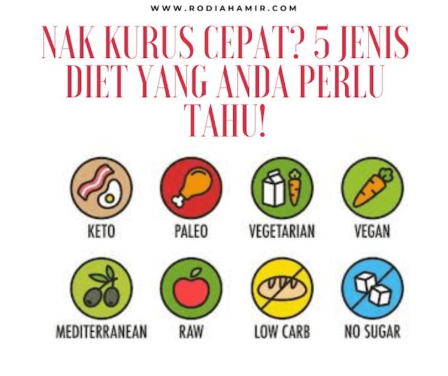 Inilah 5 jenis diet yang anda perlu tahu!