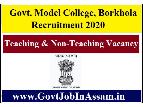 Govt. Model College, Borkhola Recruitment 2020 :: Apply For 25 Teaching & Non-Teaching Posts