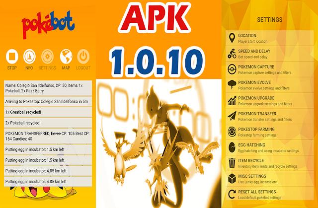 Pokemon Go - Pokebot se actualiza APK 1.0.10 (Configuraciones Abanzadas)