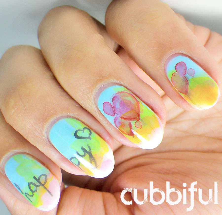 happy watercolour nails