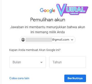 Cara Memulihkan Akun Google Dengan Menjawab Pertanyaan Keamanan
