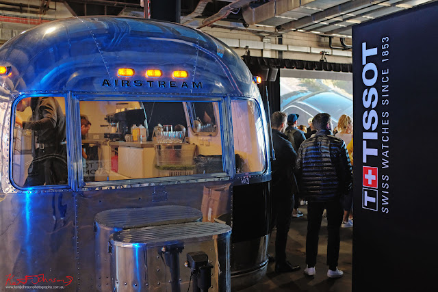 Vintage Airstream caravan as bar at the TISSOT NBA Finals Party Sydney - Photography by Kent Johnson.