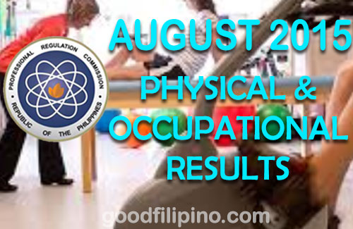 August 2015 Physical Therapists & Occupational Therapists PRC Exam Results(August 2015)