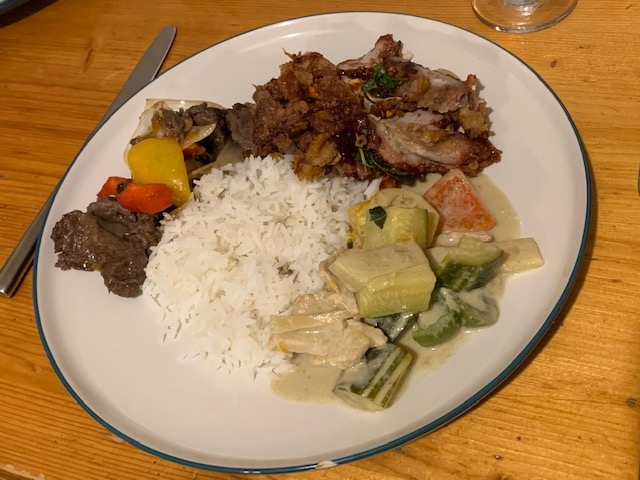 Thai green curry, beef pad char, duck in hoisin sauce with rice