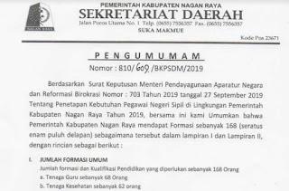 CPNS Kabupaten Nagan Raya Propinsi Aceh Tahun 2019