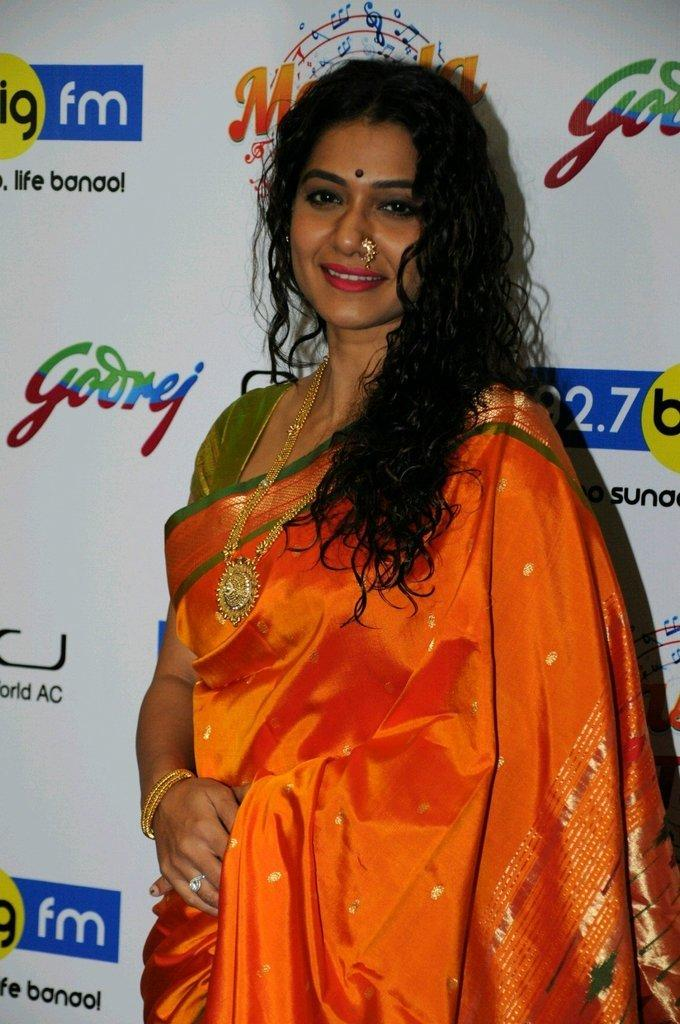 Marathi Actress Urmila Kothare Latest Photos Shoot In Orange Saree