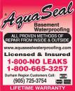 Aquaseal Wet Leaky Basement Solutions Specialists | Wet Basement Oshawa 1-800-NO-LEAKS