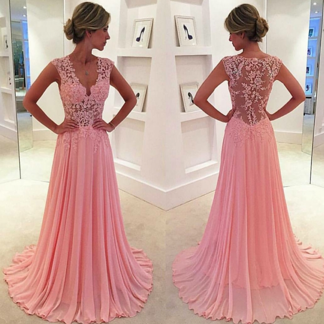 A Glimpse of Glam - Babyonlinedress Pink Lace Bodice Dress