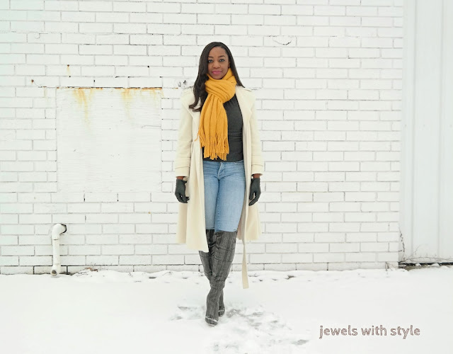 cute outfit for cold weather, how to dress cute in cold weather, cold weather outfits, jewels with style, white pea coat, white winter coat, how to wear long winter coats, oversized scarf, yellow scarf outfit, winter outfit ideas, over the knee boot outfit ideas, scarf outfit ideas, black fashion blogger, black style blogger, how to wear white in the winter, winter white, how to wear over the knee boots, gray over the knee boots, winter midi coats