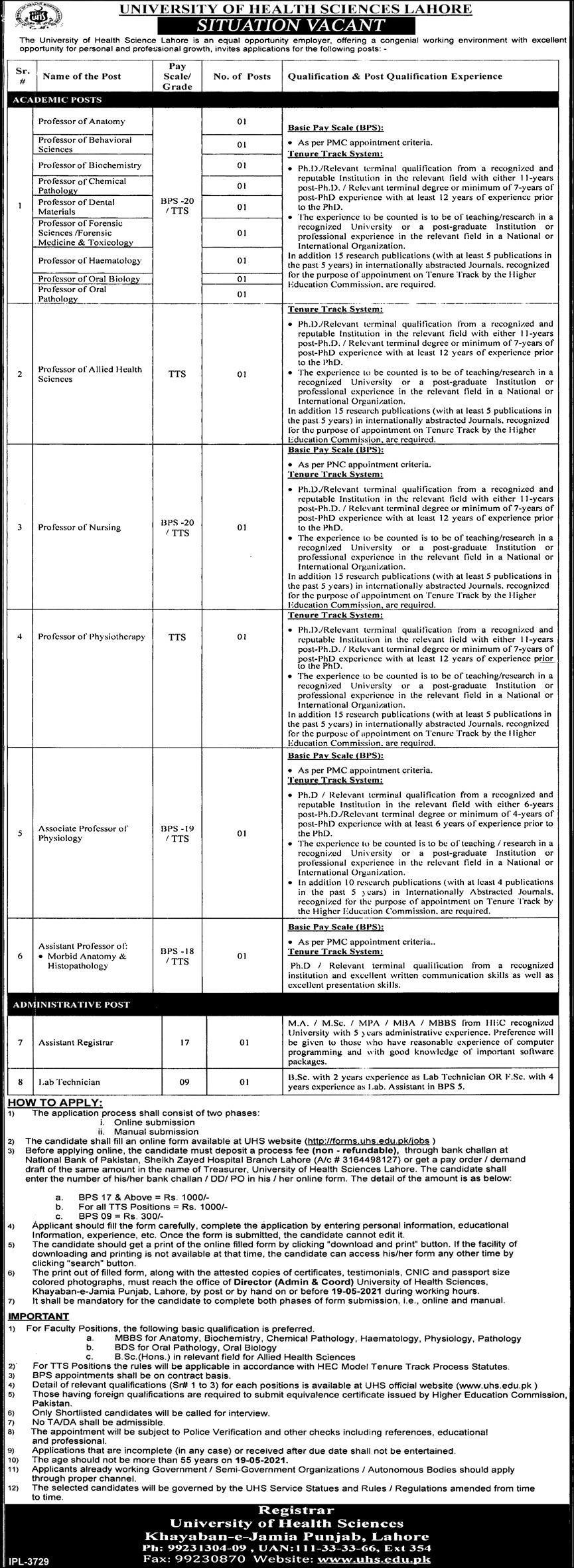University Health Sciences (UHS) Lahore Jobs 2021 in Pakistan