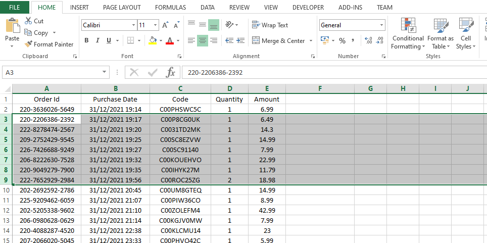 User select contiguous rows