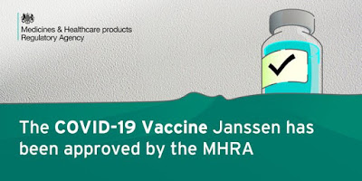 280521 COVID vaccine Johnson and Johnson Janssen approved by the UK's MHRA image of basic medicine bottle with large tick