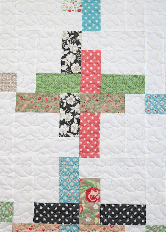 Scribble Hearts quilting on a Hello Washi baby quilt - pattern by A Bright Corner