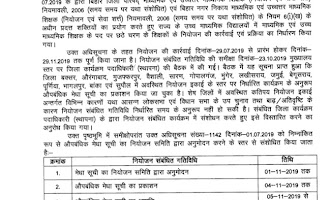 Provisional merit list of secondary and senior secondary teachers extended new schedule date  4th November 2019