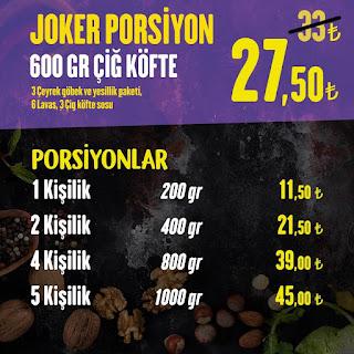 komagene çiğ köfte menü fiyat listesi