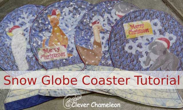 Learn how to make a sewn snow globe coaster. Tutorial by Clever Chameleon.