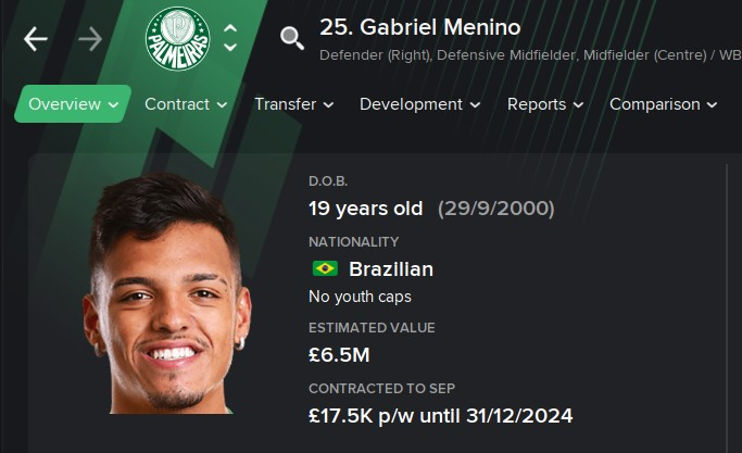 Gabriel Menino FM21 Football Manager 2021 Wonderkid